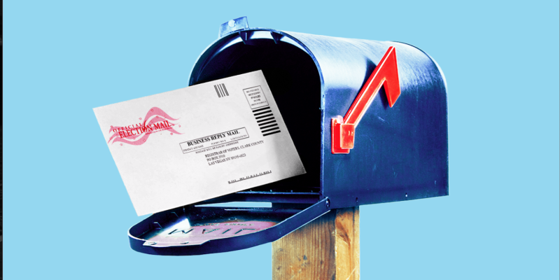 Image of absentee ballot in mailbox